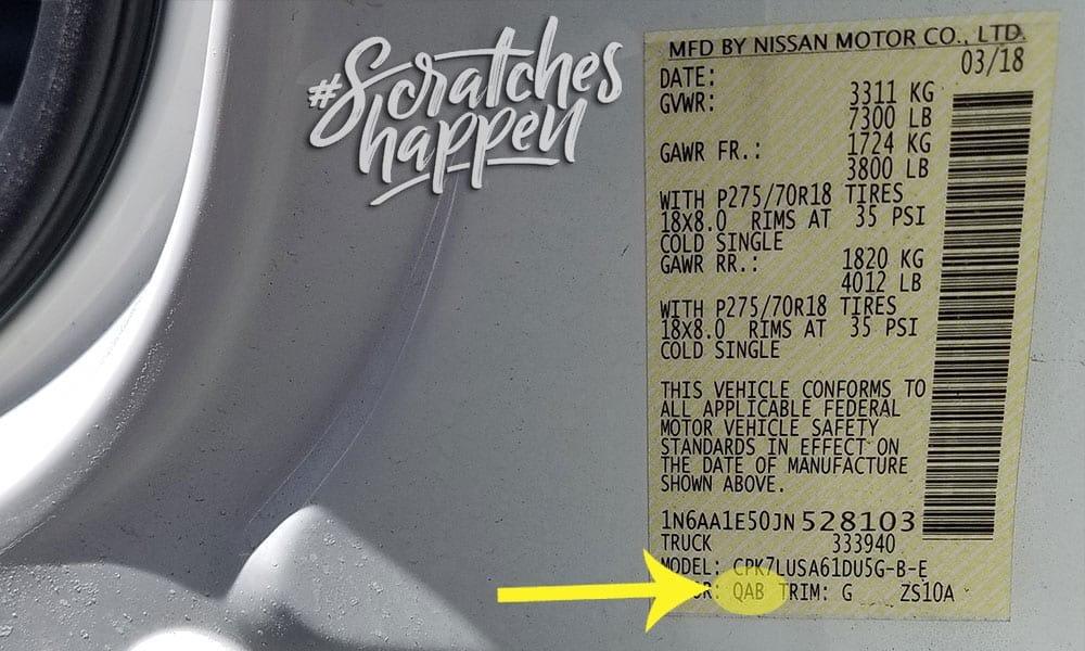 Nissan Paint Code Location (Sticker)