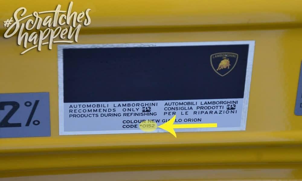Lamborghini Paint Code Location (Sticker)