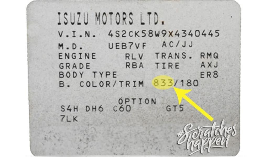 Isuzu Paint Code Location (Sticker)