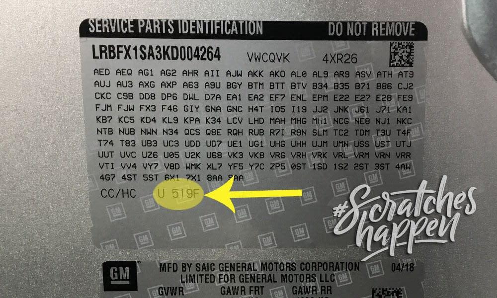 Cadillac Paint Code Location (Sticker)