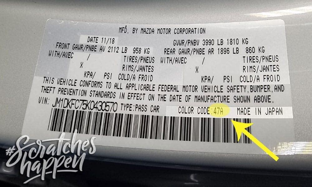 Mazda Paint Code Location (Sticker)