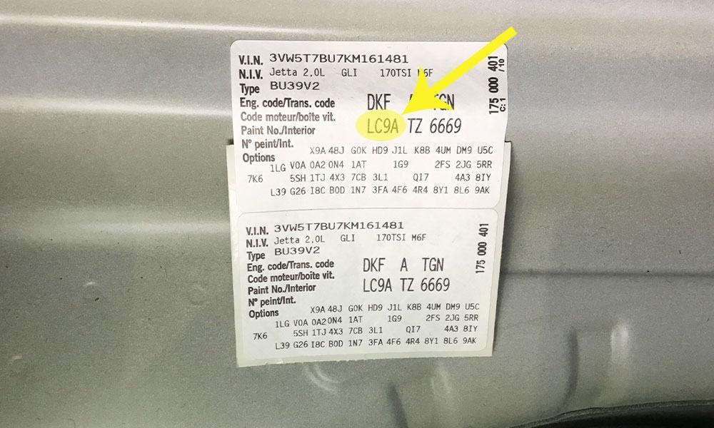 Volkswagen Paint Code Location (Sticker)
