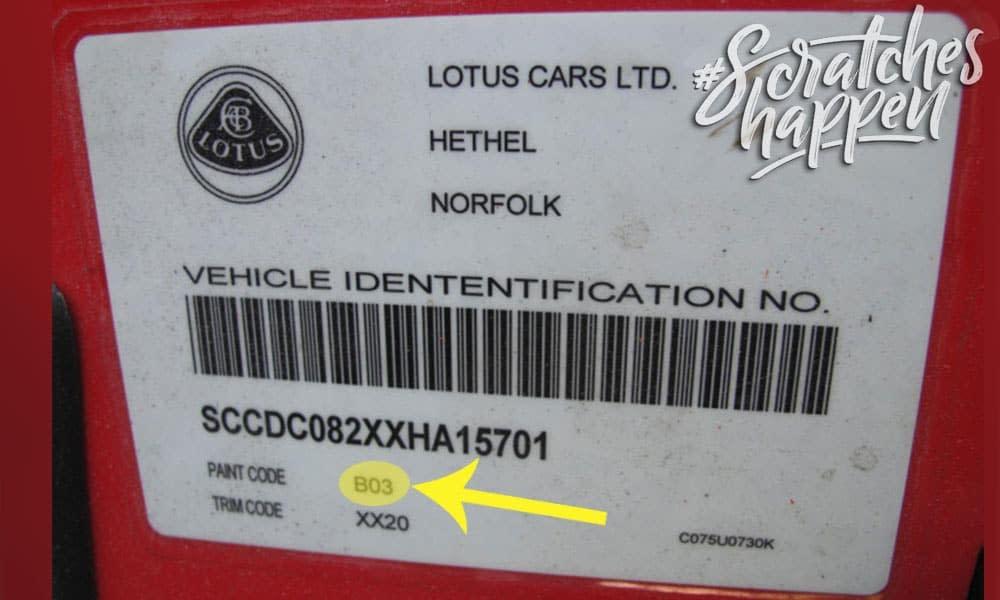 Lotus Paint Code Location (Sticker)